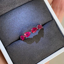 Load image into Gallery viewer, Ruby Pear-Cut Eternity Band