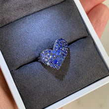Load image into Gallery viewer, Blue Sapphire Ombré Heart Ring