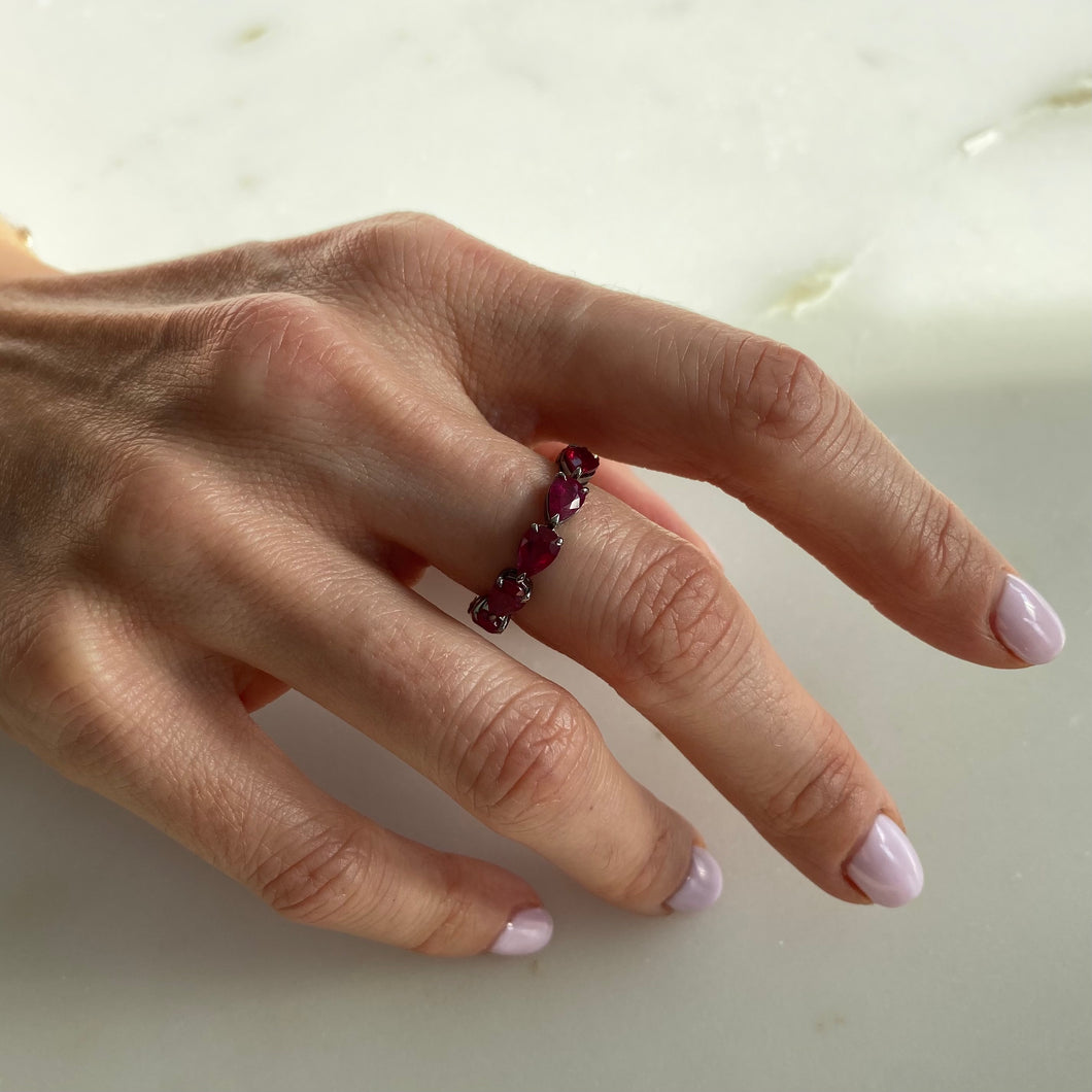 Ruby Pear-Cut Eternity Band