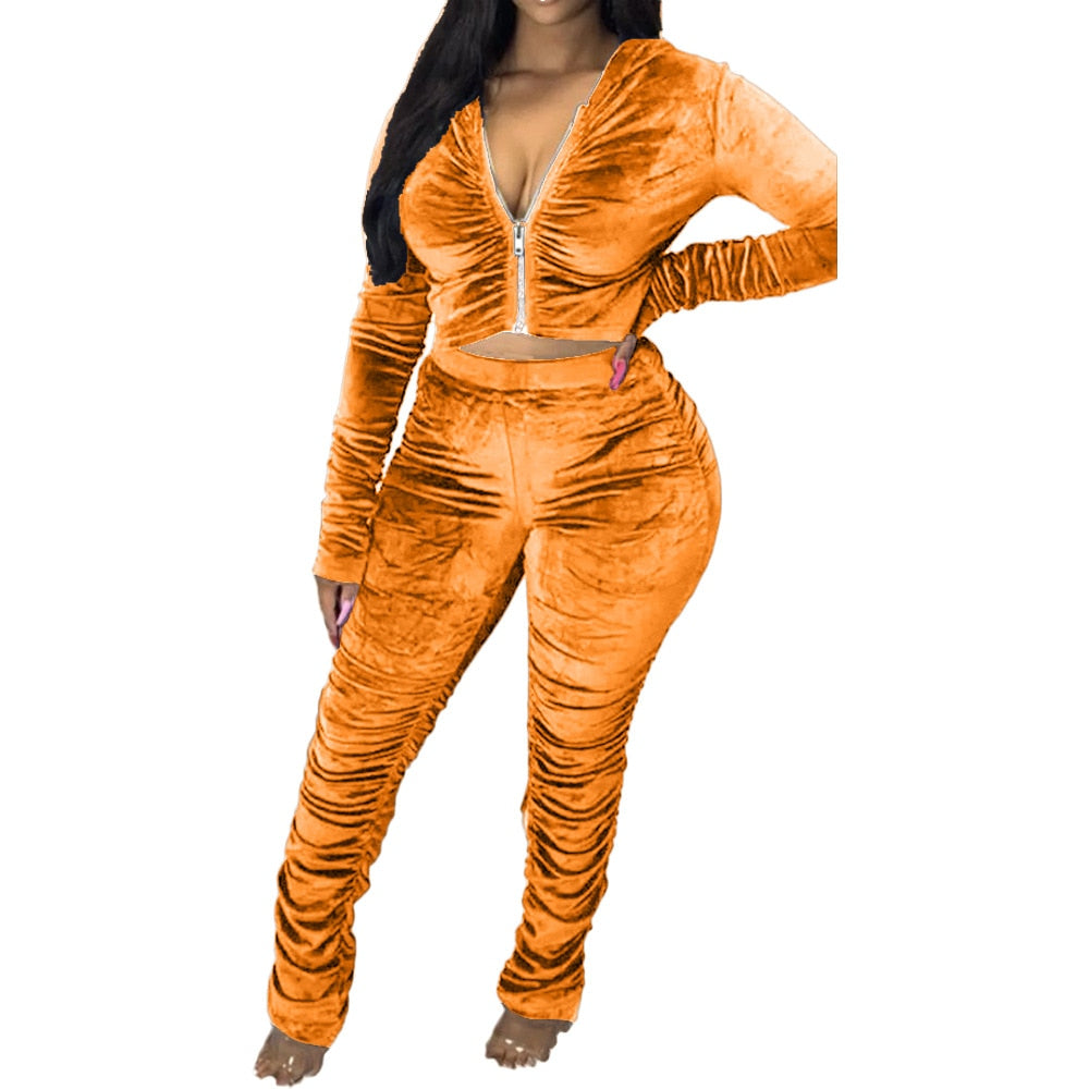 CM.YAYA Autumn Velvet Stacked Women's Set Zipper Hoodies Ruched Pants Set Sport Tracksuit Two Piece Outfit Active Sweatsuit