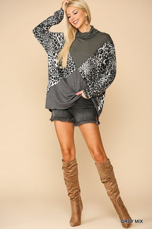 Solid And Animal Print Mixed Knit Turtleneck Top With Long Sleeves