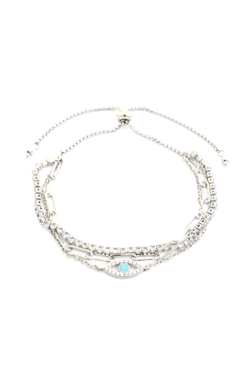 Eye Center Rhinestone Oval Link Adjustable Bracelet