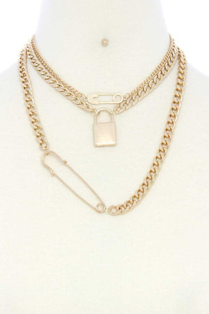 Safety Pin Lock Char Curb Link Layered Necklace