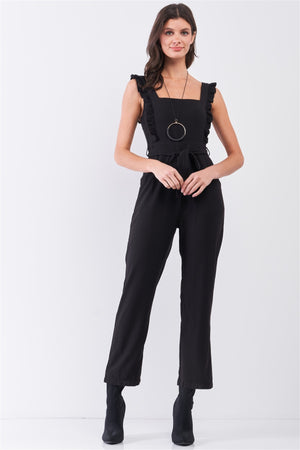 Black Sleeveless Ruffle Hem Self-tie Belt Detail Straight Leg Jumpsuit