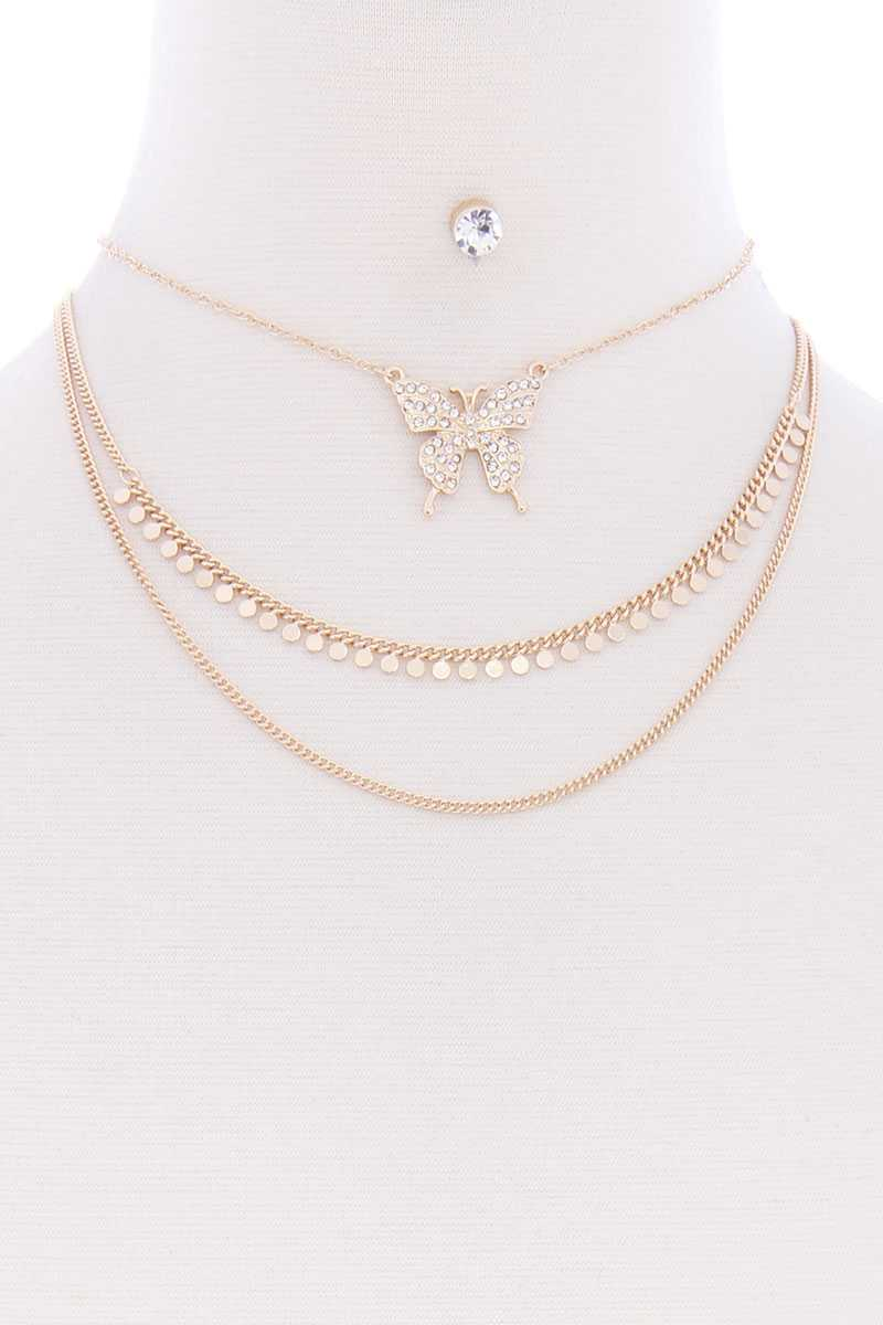 3 Layered Chain Butterfly Metal Multi Necklace Earring Set