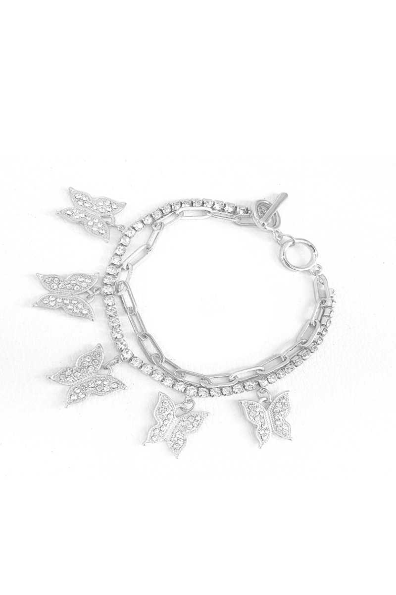Fashion Trendy Double Layer Rhinestone Butterfly Bracelet