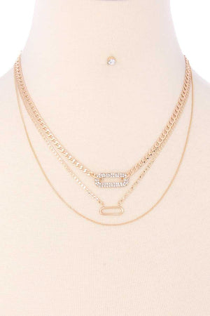 3 Layered Metal Chain Rhinestone Oval Pendant Necklace Earring Set