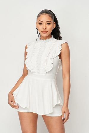 Flirty Lace Front Hi-low Romper With Waist Tie
