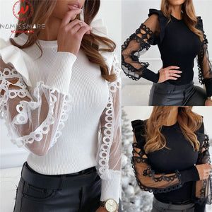 Mesh Patchwork Design Lace Ruffles top 2021