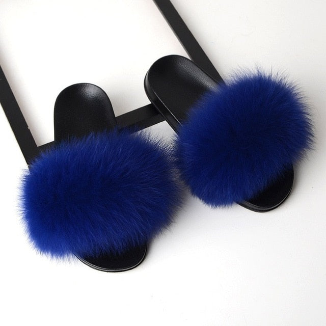 SARSALLYA Fur Slippers Women Real Fox Fur Slides Home Furry Flat Sandals Female Cute Fluffy House Shoes Woman Brand Luxury 2021