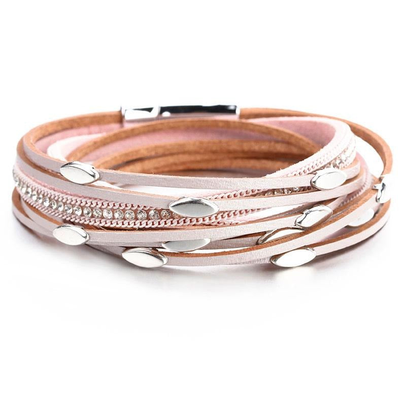 Leaf Charm Pink Leather Bracelets