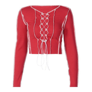 Lace Up Long Sleeve Crop Top