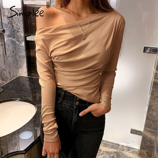 Casual one shoulder long sleeve top 2021