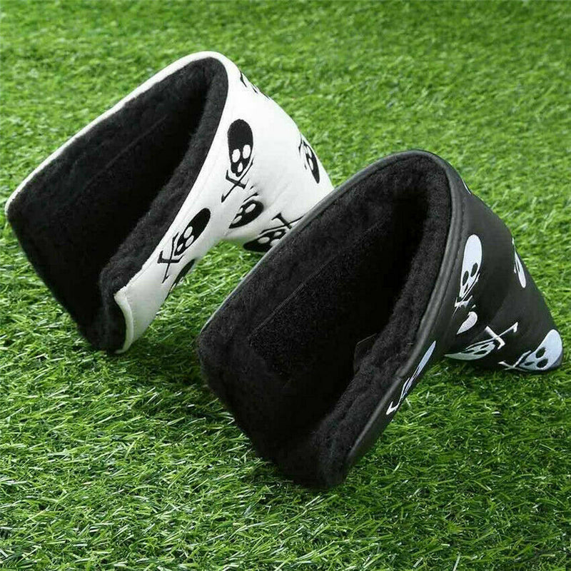 Golf Putter Head Cover Club Covers Mallet Velco Blade Club Headcovers PU Leather Skull Pattern Waterproof