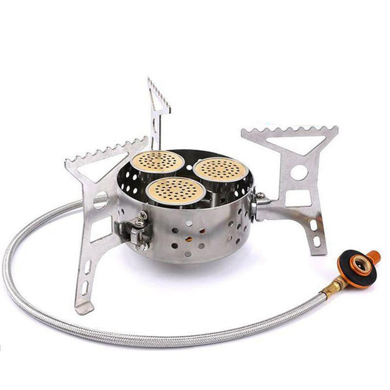 9000W Camping Gas Stove Outdoor Cooking Foldable Split Burner with Adapter