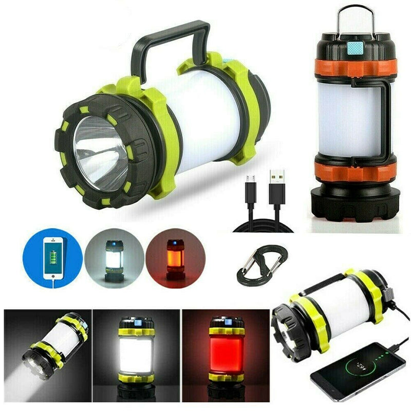 Rechargeable Outdoor Camping Tent Lantern Light Lamp Power Bank Phone Charger