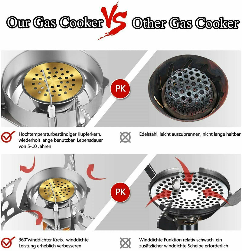 Foldable Windproof Camping Gas Stove Outdoor Cooking Split Burner Stove with Adapter
