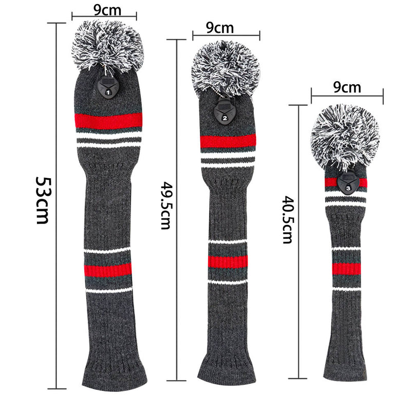 3 pcs/set Premium Knitted Pom Cover Golf Club Headcovers Driver #1 Fairway #3 #5 For Driver Fairway Wood