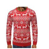 2020 Autumn and Winter Christmas New Men's Fashion Safe Deer Print Casual Round Neck Slim Pullover Sweater Sweater Asian Size