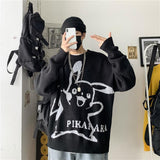Sweater men's Hong Kong Style T-shirt winter Korean style trend loose and lazy style Japanese autumn and winter top