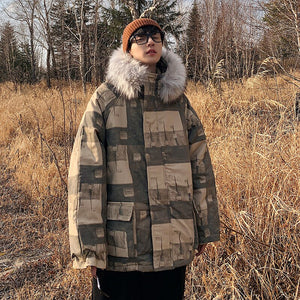 Long Parkas Men Cotton Padded Brand Clothing Fashion Printed Thick Warm Men's Jacket Fur Hoodies Coat Checked Clothes Size 3XL