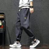 BLUE Denim Jeans Slim Fit Pant Men Autumn Black Print Brand Trouser Fashion Male Streetwear Hip Hop Ankle-Length Pants PLUS SIZE
