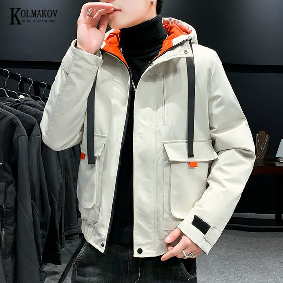 KOLMAKOV Autumn/Winter Korean-style Men's Hooded Cotton-padded Clothes Warm Solid Color Fashion Jacket Parka Hoodie Coat Male