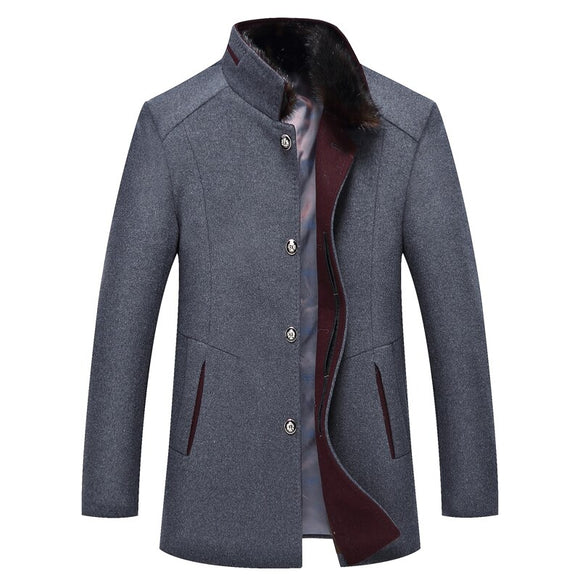 New Winter Men's Sable Collar Coat Stand Collar Business Wool Jacket Thickened with Velvet Overcoat Male 3 Color Size M-4XL