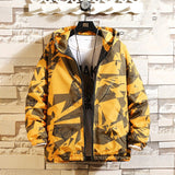 Korean Hooded Thickened With Velvet Windbreaker Men's Loose Casual Coat White Yellow Printed Zipper Overcoat Male Size 4XL