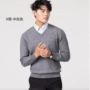 Cashmere Cotton Sweater People 2019 Autumn and Winter New Sweatshirt Pullover Round Neck Solid Color Slim Knitted Sweater 4XL