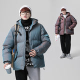 Winter Men's Large Cotton-Padded Jackets Dazzle Color Reflective Cotton-Padded Jacket A Hooded Bread Coat For Mens