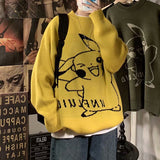 Hong Kong Style winter cartoon sweater men's Korean fashion Pullover Crew Neck Sweater couple student T-shirt