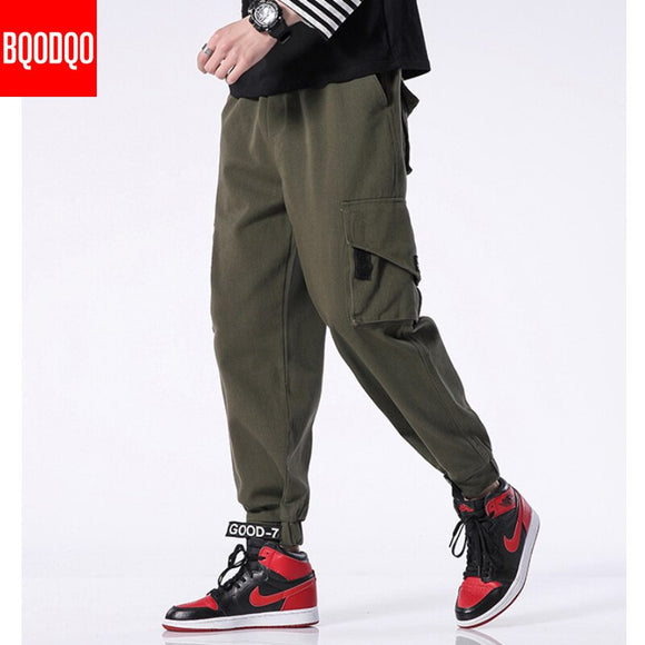 2019 Casual Harem Pants Men Khaki Army Green Plus Size Running Social 100% Cotton Trousers Streetwear Fashion Cargo Joggers Pant
