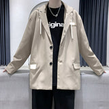 Men's Korean Loose Glow-in-the-dark Hooded Suit Jacket Casual Single-breasted Brand Men Clothing Suits Collar Overcoat Male