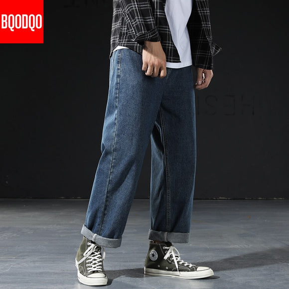 Blue Denim Jeans Pants Men OVERSIZE Classic Black Casual Hip Hop Straight Trousers Mens Fitness Japanese Streetwear Pant Vintage