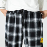 Men's  Joggers  Plaid Pants Man Black Cotton Comfortable Pant Summer Casual Streetwear Loose Trouser Japanese Trendy Sweatpants
