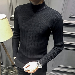 Autumn and Winter Men's Sweater Striped Wild Half-high Neck Long-sleeved Sweater In The Collar Casual Slim Comfortable Sweater