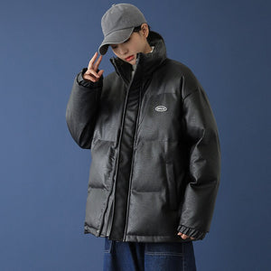 Thick Cotton-padded PU Jacket Men Clothing Black Loose Stand Collar Coat Men's Bomber Jackets Couples Clothes Size M-5XL