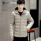 KOLMAKOV Winter Korean Casual Men's Hooded Padded Coat Warm Thick Male Jackets Solid Slim Overcoats Brand Clothing 5 Color 4XL