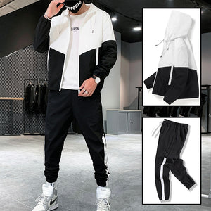 Men's Hooded Hip Hop Sweatsuit Man The Color Matching Jacket+Sweatpant 2PCS Set Jogging Tracksuit 4 Color SIze 4XL
