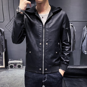 2020 new men's zipper hooded leather clothing slim-fitting solid multiple pockets motorcycle PU leather jacket size M-5XL