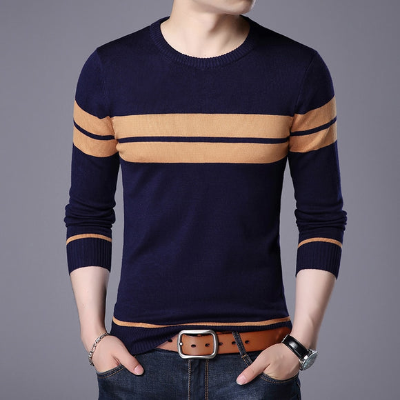 2019 Fashion Casual Wear Social Fitness Bodybuilding Striped  Men's Sweater top Comfortable Jersey  Round Neck Pullover Sweater
