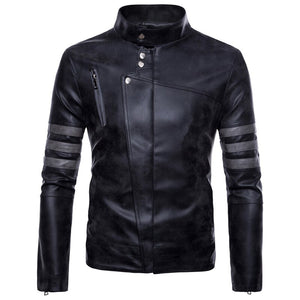 Men New Stand Collar Motorcycle Causal Vintage Leather Jacket Men's Autumn Outfit Fashion Biker Pocket Design PU Coats Male