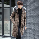 Men's Solid Thick Warm Jacket Fox Collars Cotton-padded Clothes Male Slim Fit hooded Long Men Windproof Padded Coat 3 Color 3XL