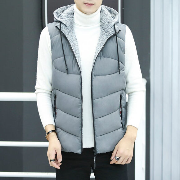 Fashion Vest Men's Jacket Sleeveless Winter Waistcoat Men Coat Slim Fit Hooded Vest Jacket Men Work Hooded Vest Coat Male