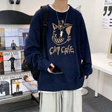 Winter cartoon Pullover Crew Neck Sweater men's Hong Kong Style loose casual sweater student trend Korean coat