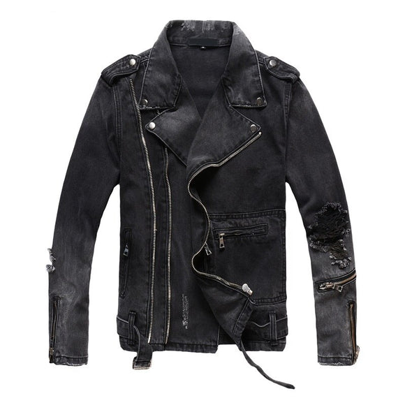 2020 new arrival autumn high quality high street black casual denim jackets men,men's fashion jackets plus-size