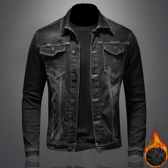 Men's Black Winter Denim Jackets Outerwear Warm Jean Coats Fashion Stand Collar Men Thicker Jacket Vintage Cowboy Clothes M-4XL