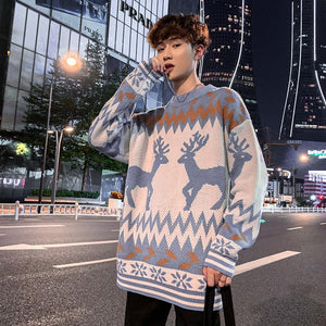 Autumn / Winter Hong Kong Style ins loose crew neck Pullover Sweater men's Korean fashion versatile Pullover couple's knitwear