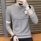Special Fashion New Men's Colorblock Patchwork O-Neck Long Sleeve Knit Sweater Top Polyester Spandex Casual Warm Men's Sweater